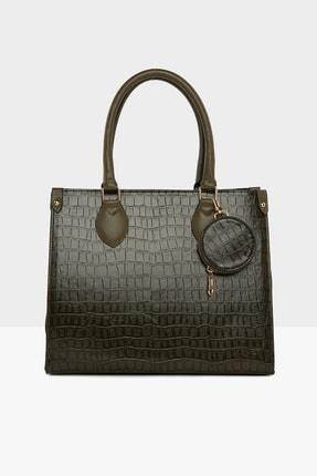Bagmori Haki Kadın Kroko Desenli Cüzdanlı Biritli Büyük Çanta M000005232