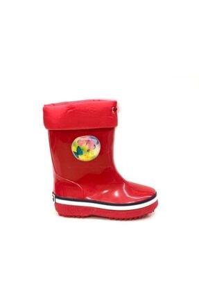 Akınalbella Kız Çocuk Kırmızı Sıcak Astar Yağmurluk Naylon Çizme
