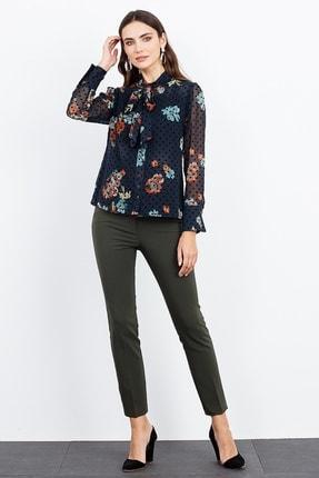 Moda İlgi Kadın Lacivert Dik Yaka Bağcıklı Çiçek Desenli Gömlek