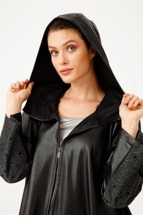 Moda İlgi Kadın Siyah Deri Detaylı Kapüşonlu Pelerin