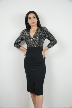 Lila Rose Kadın Siyah Kruvaze Gümüş Payetli Midi Elbise