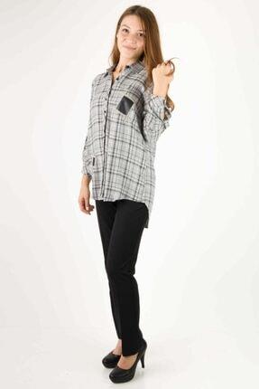 Ayhan Kadın Ekose Desen Gömlek Gri 50478