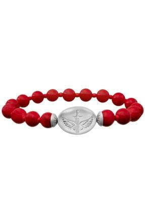 Valael Kadın Kırmızı Gümüş Melek Mikail Sembollü Kırmızı Doğal Taş Şans Ve Korunma Bilekliği