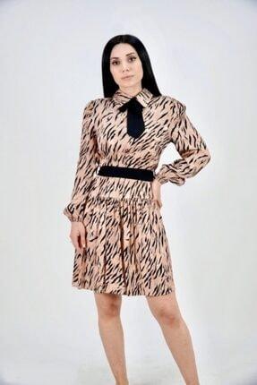Lila Rose Kadın Bej Saten Zebra Desenli Kuşaklı Elbise