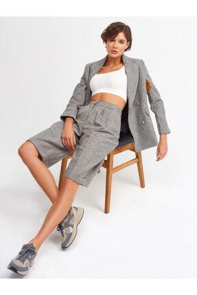 Dilvin Kadın Gri Metal Düğme Detay Ceket