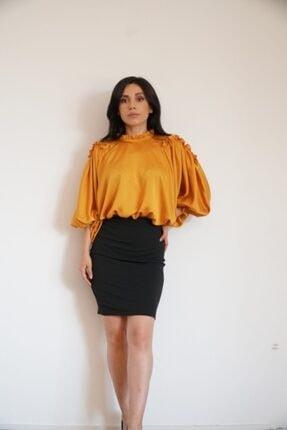 Lila Rose Kadın Hardal Omuz Pencereli Saten Elbise