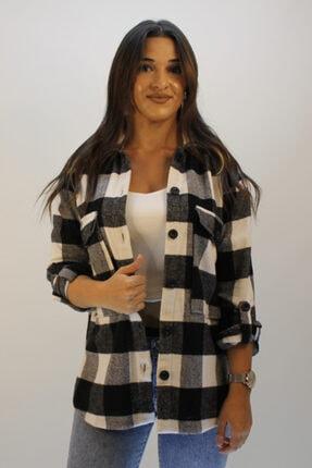 ERDEM Kadın Siyah Kapak Cepli Gömlek