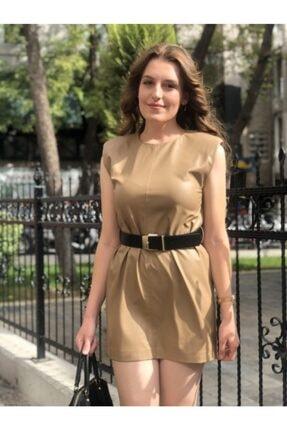 Ayhan Kadın Bej Kemer Detaylı Deri Elbise 61486