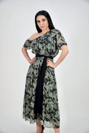 Lila Rose Kadın Yeşil Asimetrik Omuz Volanlı Şifon Elbise