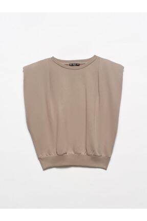 Dilvin Kadın Kahverengi Vatkalı Crop Sweatshirt