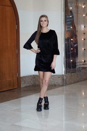 NK Kadın Siyah  Mini Kadife Elbise
