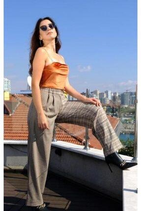 Kadın Gri Plaid Çift Kumaş Pantolon MOOFPNTL
