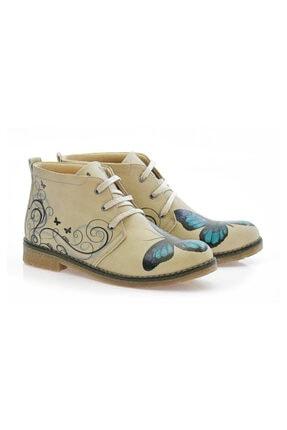 Goby Kadın Kahverengi Kelebek Desenli Ayakkabı