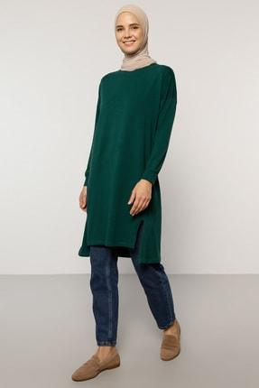 Everyday Basic Kadın Yeşil Doğal Kumaşlı Yırtmaç Detaylı Basic Tunik 1730407
