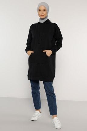 Everyday Basic Kadın Lacivert Kapüşonlu Sweatshirt 1763597
