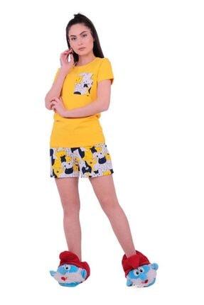 Jiber Kadın Sarı Kedi Desenli Şortlu Pijama Takımı 3613