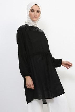 Refka Kadın Siyah Payet İşlemeli Dökümlü Tunik 984814
