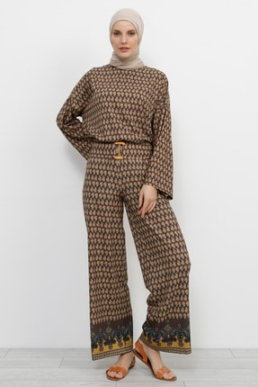 Refka Kadın Kahverengi Desenli Pantolon 734432