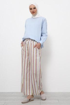 Refka Kadın Beyaz Doğal Kumaşlı Çizgili Keten Pantolon 747299