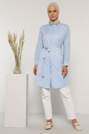 Everyday Basic Kadın Mavi Gizli Düğmeli Tunik 1675244