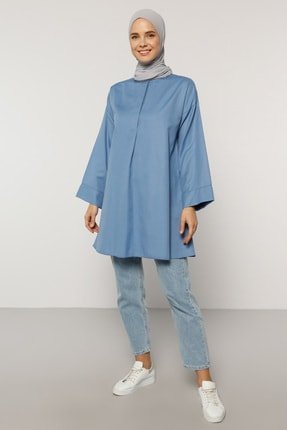 Everyday Basic Kadın Mavi Yakası Düğmeli Tunik 1684531