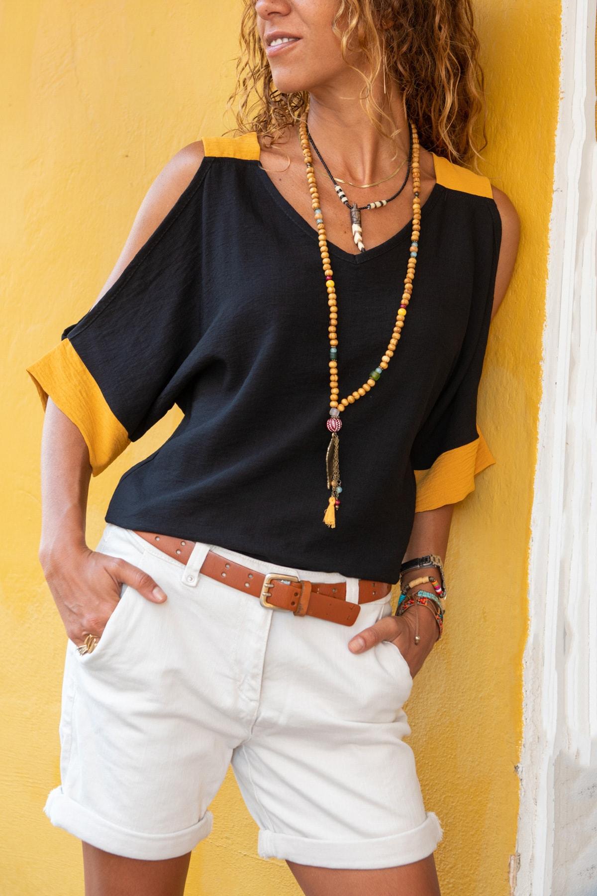 Güneşkızı Kadın Siyah Keten Omuz Dekolteli Salaş Bluz GK-BST2923