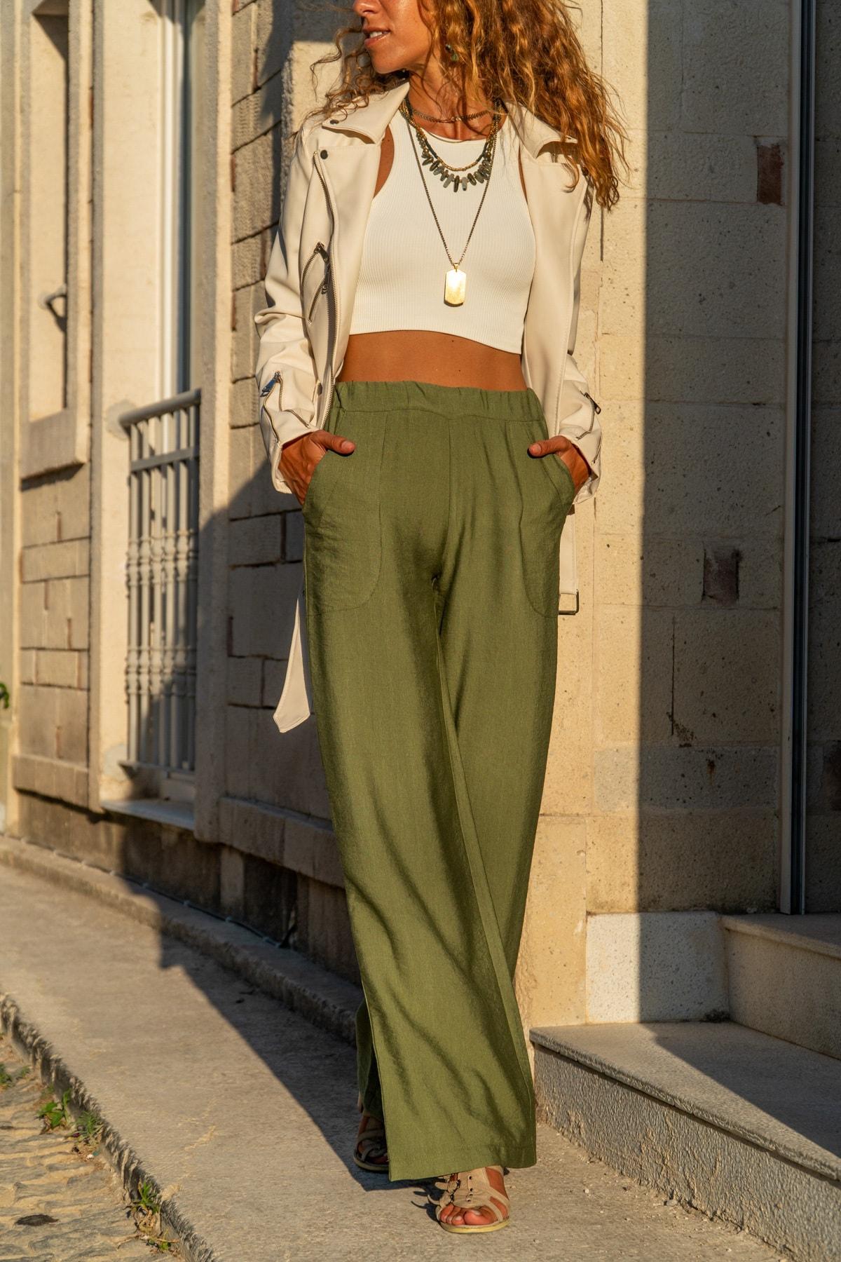 Güneşkızı Kadın Haki Keten Beli Lastikli Salaş Pantolon GK-BST2933