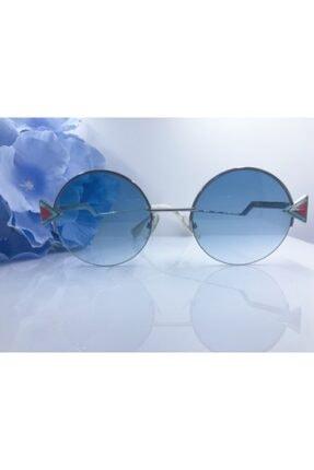 Fendi Gümüş Metal Çerçeveli Yuvarlak Mavi Lens Uv400 Güneş Gözlüğü  Ff0243/sscb51