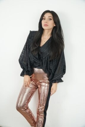 Lila Rose Kadın Siyah V Yaka Çizgili Saten Bluz