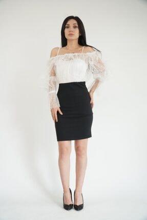 Lila Rose Kadın Siyah Beyaz Puantiyeli Tül Elbise