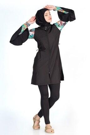 ALFASA Kadın Siyah Kolları Volanlı Taytlı Tesettür Mayo