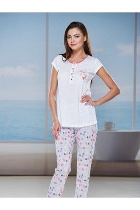 PJS PİJAMA Kadın Beyaz Kısa Kol Pijama Takımı 20010