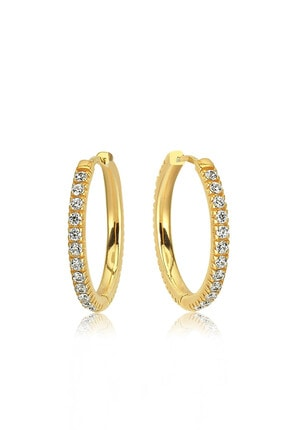 Valori Jewels Medium, Zirkon Beyaz Taşlı, Altın Rengi Gümüş Halka Küpe