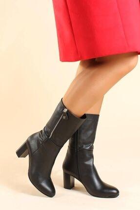 Fast Step Hakiki Deri Siyah Kadın Yüksek Topuk Çizme 064sza531