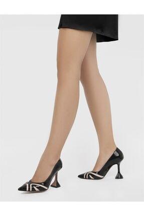 İlvi Kadın Siyah Rugan Topuklu Ayakkabı