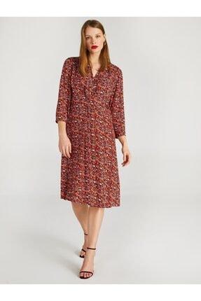 Faik Sönmez Kadın Kırmızı V Yakalı Kol Çiçek Desenli Elbise