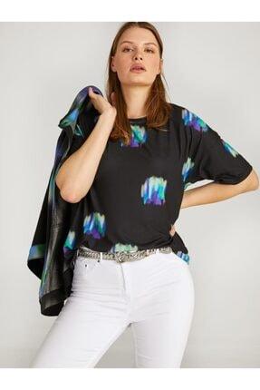 Faik Sönmez Kadın Siyah Batik Baskılı Yuvarlak Yaka T-shirt