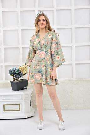 İroni Kadın Mint Çiçek Desenli Mini Elbise