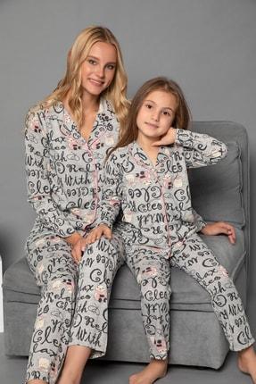 Elitol Kadın Desenli Pamuklu Likrali Düğmeli Pijama Takim
