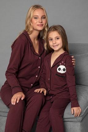Elitol Kadın Mürdüm Pamuklu Likrali Düğmeli Pijama Takim