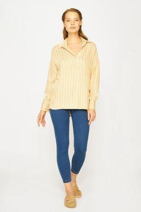 Batik Kadın Sarı Çizgili  Gömlek Y42561