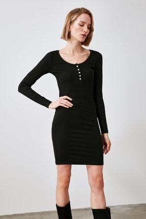 TrendyolMilla Siyah Düğmeli Örme Elbise TWOAW21EL2218