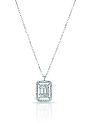 Azuris Silver Kadın 925 Ayar Gümüş Baget Taşlı Kolye ALK1698 Rodyum