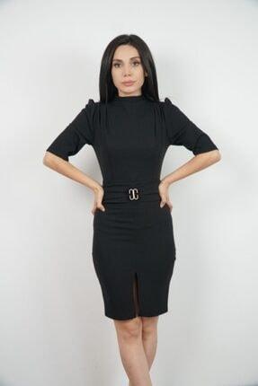 Lila Rose Kadın Siyah Omuzları Pileli Kemerli Elbise