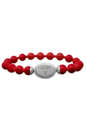Valael Gümüş Melek Rafael Sembollü Kırmızı Doğal Taş Şans Ve Korunma Bilekliği