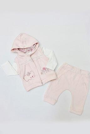 Tongs Baby Kız Bebek Yelek Sweatshirt Pantolon 3lü Takım 6-24 Ay