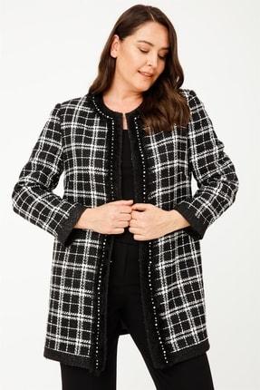 Moda İlgi Kadın Siyah Ekose Şanel Ceket