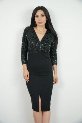 Lila Rose Kadın Siyah Kruvaze Zümrüt Yeşili Payetli Midi Elbise