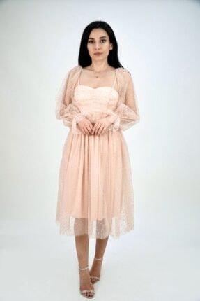Lila Rose Kadın Pudra Midi Boy Kare Yaka Tül Elbise