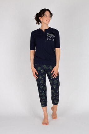 Hays Kadın Lacivert Penye Kapri Pijama Takımı